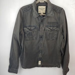 A&F| MEN'S Distressed Black Muscle Button Shirt